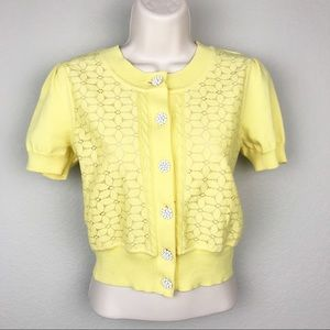 ModCloth Cotton Blend Yellow Floral Crop Cardigan